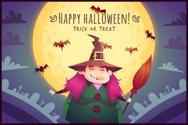 Strega divertente del fumetto con la scopa e il calderone bollente sullo sfondo del cielo di luna piena manifesto di halloween felice illustrazione della cartolina d'auguri di scherzetto o dolcetto
