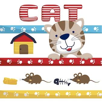 Cartone animato divertente gatto con piccoli ratti