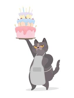 Il gatto divertente tiene un cupcake festivo. dolci con panna, muffin, dessert festivo, pasticceria. ottimo per biglietti, magliette e adesivi. stile piatto. vettore.