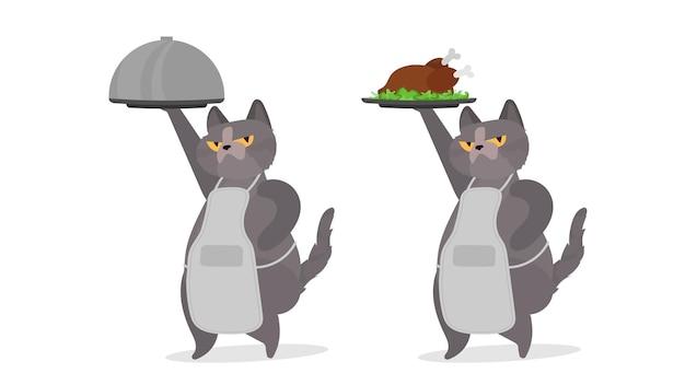 Il gatto divertente tiene un piatto di metallo con un coperchio. un gatto con uno sguardo divertente. ottimo per adesivi, cartoline e magliette. isolato. vettore.