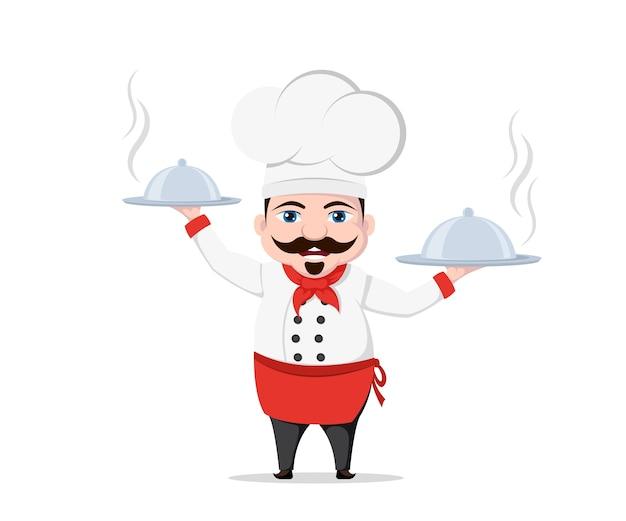 Carattere divertente del cuoco unico con due piatti deliziosi su priorità bassa bianca.