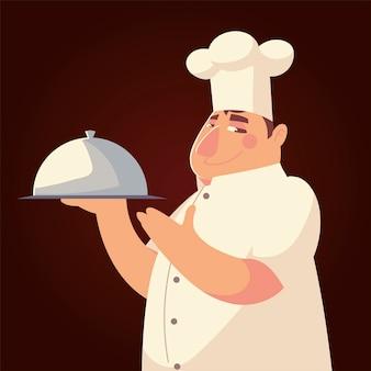 Illustrazione di vettore del ristorante professionale del lavoratore del carattere del cuoco unico divertente