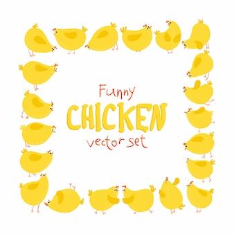 Set di pollo divertente, personaggi di uccelli comici del fumetto in diverse pose ed emozioni.