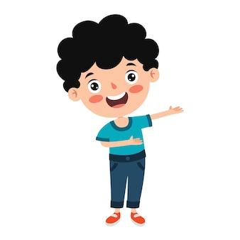 Bambino divertente che presenta e che indica