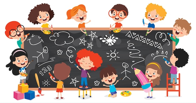 Bambini divertenti disegno sulla lavagna