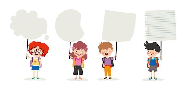 Bambini divertenti che tengono cartello bianco
