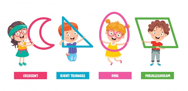 Bambini divertenti che imparano le forme di base