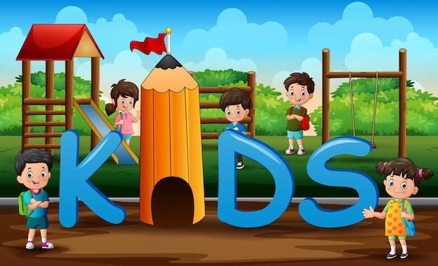 Divertenti i bambini nell'illustrazione del parco giochi