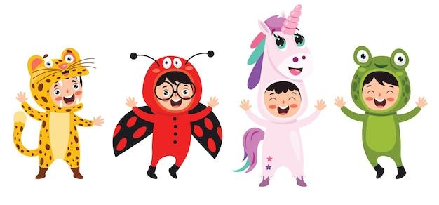 Bambini divertenti waering costumi di animali