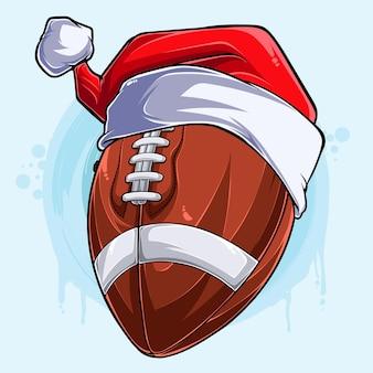 Divertente palla da football americano di natale con cappello di babbo natale vacanze di natale palla sportiva
