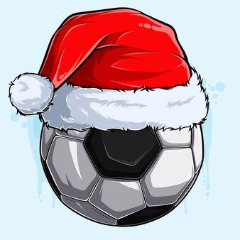 Pallone da calcio di natale divertente con cappello di babbo natale vacanze di natale palla sportiva