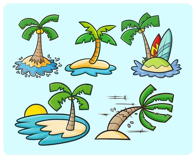 Divertente collezione di alberi di cocco in semplice stile doodle