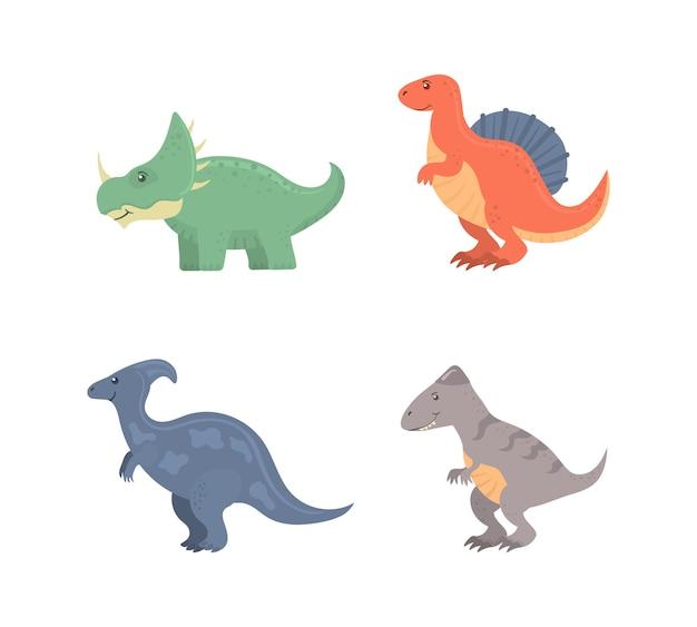 Divertente collezione di dinosauri del fumetto isolato su bianco