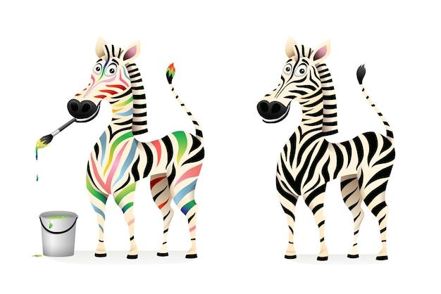 Divertente colorato disegno zebra artista e zebra in bianco e nero fumetto per bambini. disegno di carattere animale africano, grafica del fumetto 3d.