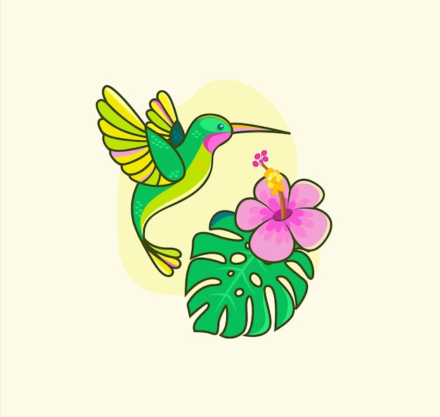 Colibri colorato divertente che vola vicino al fiore tropicale. colibri per biglietti d'auguri di design, annuncio zoo, stampa di moda, adesivi, invita, concetto di natura, libro per bambini. uccello nella vita selvaggia. fauna del sud america. vettore