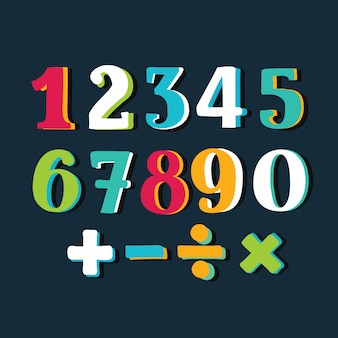 Numeri colorati divertenti impostati su sfondo bianco. illustrazione
