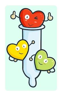 Preservativo divertente con personaggi del cuore intorno in semplice stile doodle kawaii