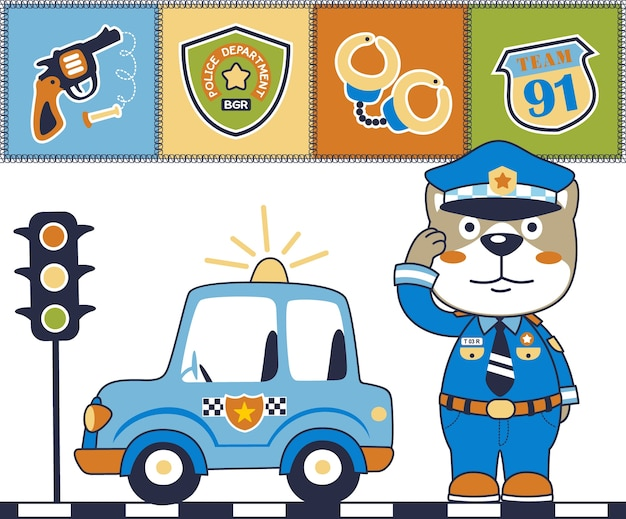 Fumetto divertente della polizia con l'attrezzatura della polizia