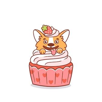 Divertente cane corgi in un cupcake decorato con fragole