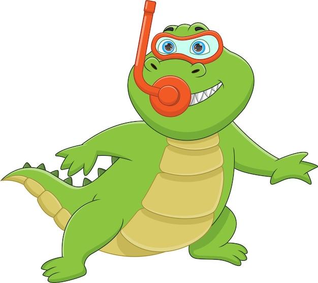 Divertente posa di coccodrillo con attrezzatura per lo snorkeling