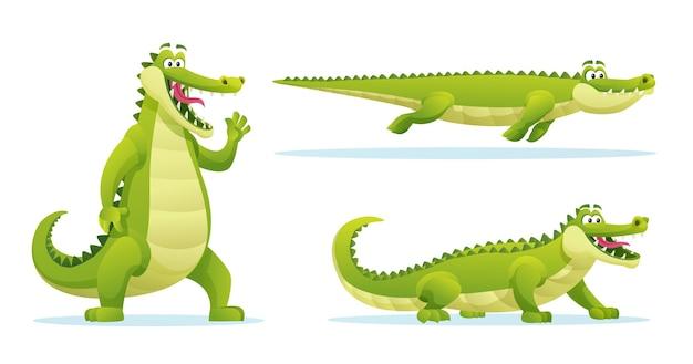 Coccodrillo divertente in varie pose fumetto illustrazione
