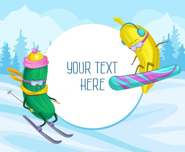 Illustrazione divertente di sci e di snowboard dei caratteri della banana e del cetriolo, elemento di progettazione per il manifesto o insegna con lo spazio della copia per testo