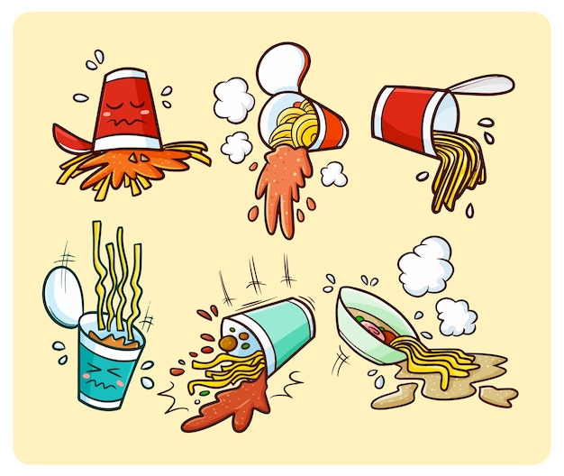 Spaghetti tazza divertenti versati in semplice stile doodle
