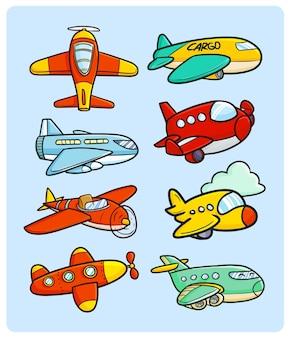 Collezione di aeroplani divertenti e carini in stile doodle kawaii