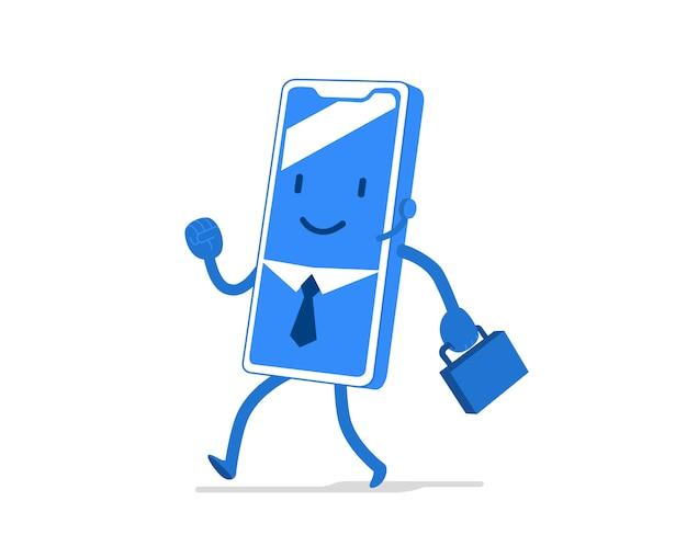 Personaggio dei cartoni animati divertente e carino per applicazione mobile, settore aziendale, uomo d'affari con cravatta e valigetta