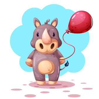Caratteri di rinoceronte divertenti, simpatici cartoni animati.