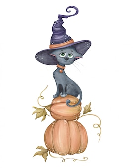 Gatto divertente e carino con cappello da strega, seduto su zucche. illustrazione di halloween