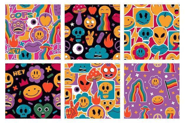 Modelli senza cuciture di simpatici personaggi adesivi comici divertenti. cartoon carino emoji illustrazioni di sfondo vettoriale. modelli di forme comiche disegnate a mano. sfondo comico moda contemporanea, motivo adesivi