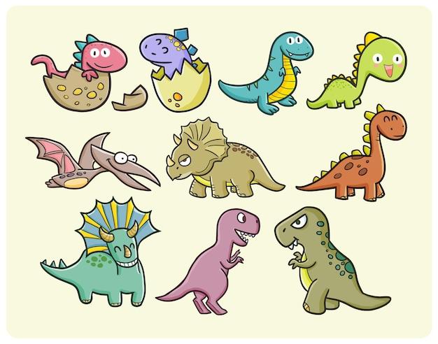 Collezione di dinosauri divertenti e carini in semplice stile scarabocchio