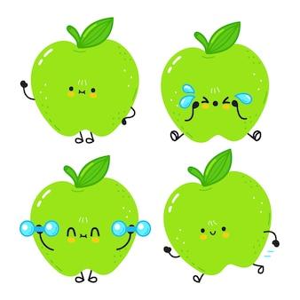 Set di divertenti personaggi dei cartoni animati di mela felice carino cute