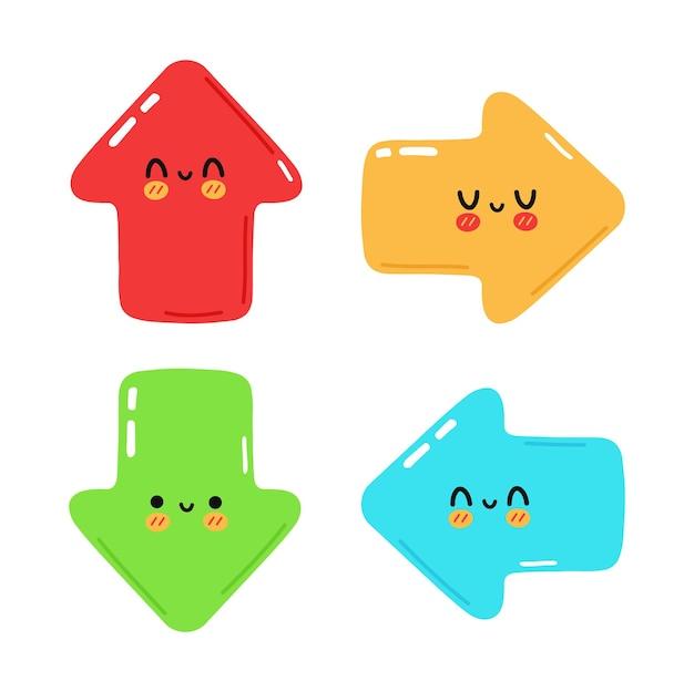 Set di divertenti simpatici personaggi delle frecce felici
