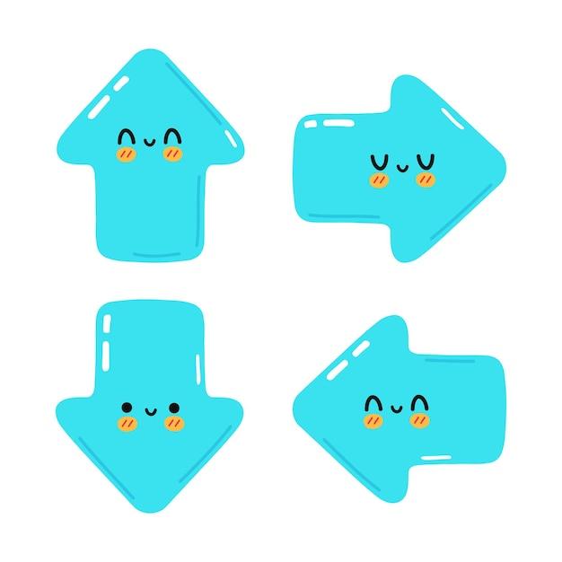 Set di divertenti simpatici personaggi con frecce blu felici