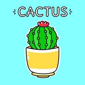 Set di simpatici personaggi di cactus felici e divertenti