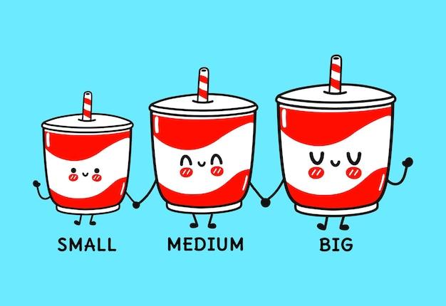 Set di personaggi divertenti e simpatici allegri bevande fredde