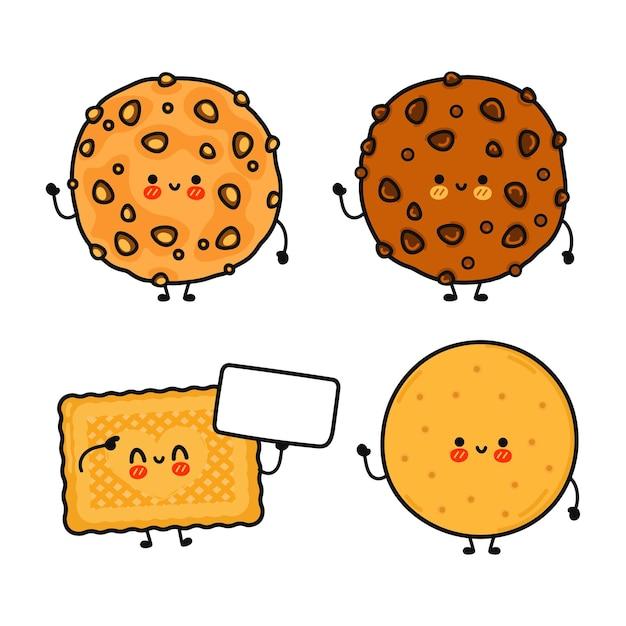 Set di pacchetti di personaggi divertenti e simpatici biscotti felici