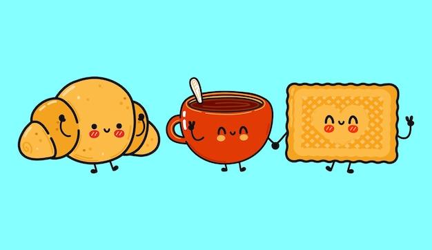 Set di pacchetti di personaggi divertenti e simpatici biscotti felici tazza di caffè e croissant