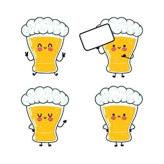 Set di pacchetti di personaggi divertenti e carini con un bicchiere di birra