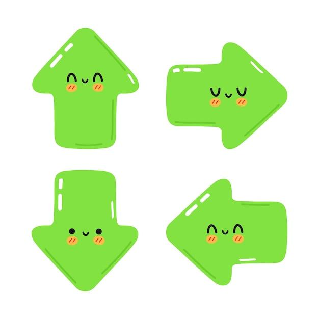 Set di divertenti simpatici personaggi con frecce verdi felici
