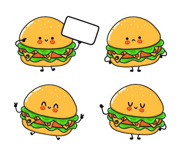 Set di divertenti e simpatici personaggi di hamburger felici