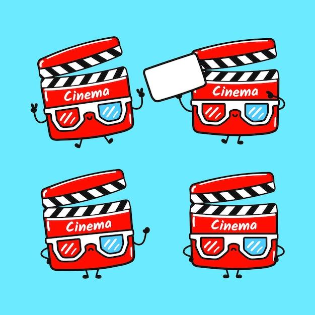 Set di personaggi divertenti e simpatici di batacchio di film felici Vettore Premium