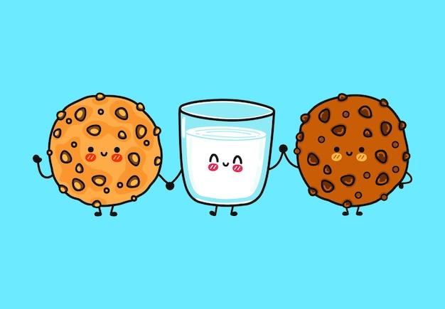 Set di pacchetti di personaggi di biscotti di farina d'avena felici e divertenti, bicchiere di latte e biscotti al cioccolato