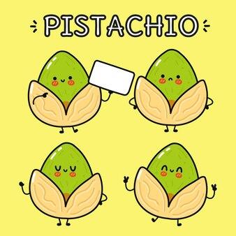 Set di divertenti personaggi dei cartoni animati di pistacchio felice carino divertente