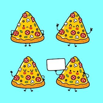 Set di pacchetti di personaggi divertenti e simpatici pizza felice