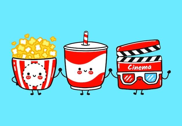 Set di personaggi di batacchio di film di limonata di popcorn e divertenti, carini e simpatici