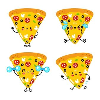 Set di pacchetti di personaggi divertenti e felici con una fetta di pizza