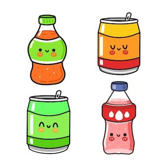 Set di divertenti simpatici personaggi di soda felice
